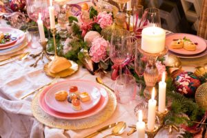 Mesa de Navidad rosa